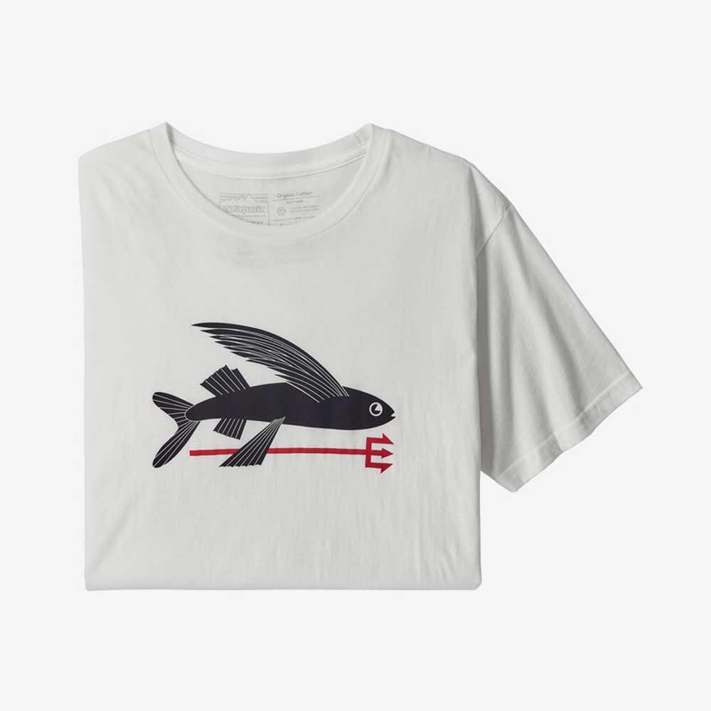 Mens Organiz Cotton Flying Fish T-Shirt by Patagonia   White